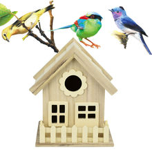 House Shape Box Bird nest Decoration Creative Wooden Birdhouse Breeding Accessories Practical New High quality