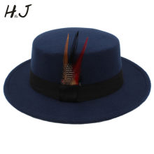Winter Autumn Flat Homburg Men Fedora Hat for Dad Wool Pork Pie Chapeu Boater  Hat with 653f4b44d212