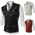 High Quality Men Leather PU Vest Fashion Motorcycle Sleeveless Jackets Punk Style Multi-Zipper Design Mens Leather Waistcoats