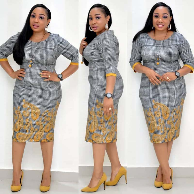 African Clothes 2019 Elegant Plaid Dress Women Office Lady Plus Size 4XL O-Neck Bandage Bodycon Pencil Dress Robe High Quality