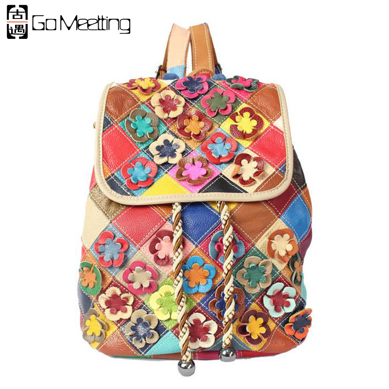 Go Meetting Patchwork Genuine Leather Women's Backpack  Flowers Cow Leather Women Shoulder Bag School Bags Travel Backpacks WB35 new 2016 patchwork genuine leather women s backpack flowers cowhide women shoulder bag school bag ms travel backpacks wb35