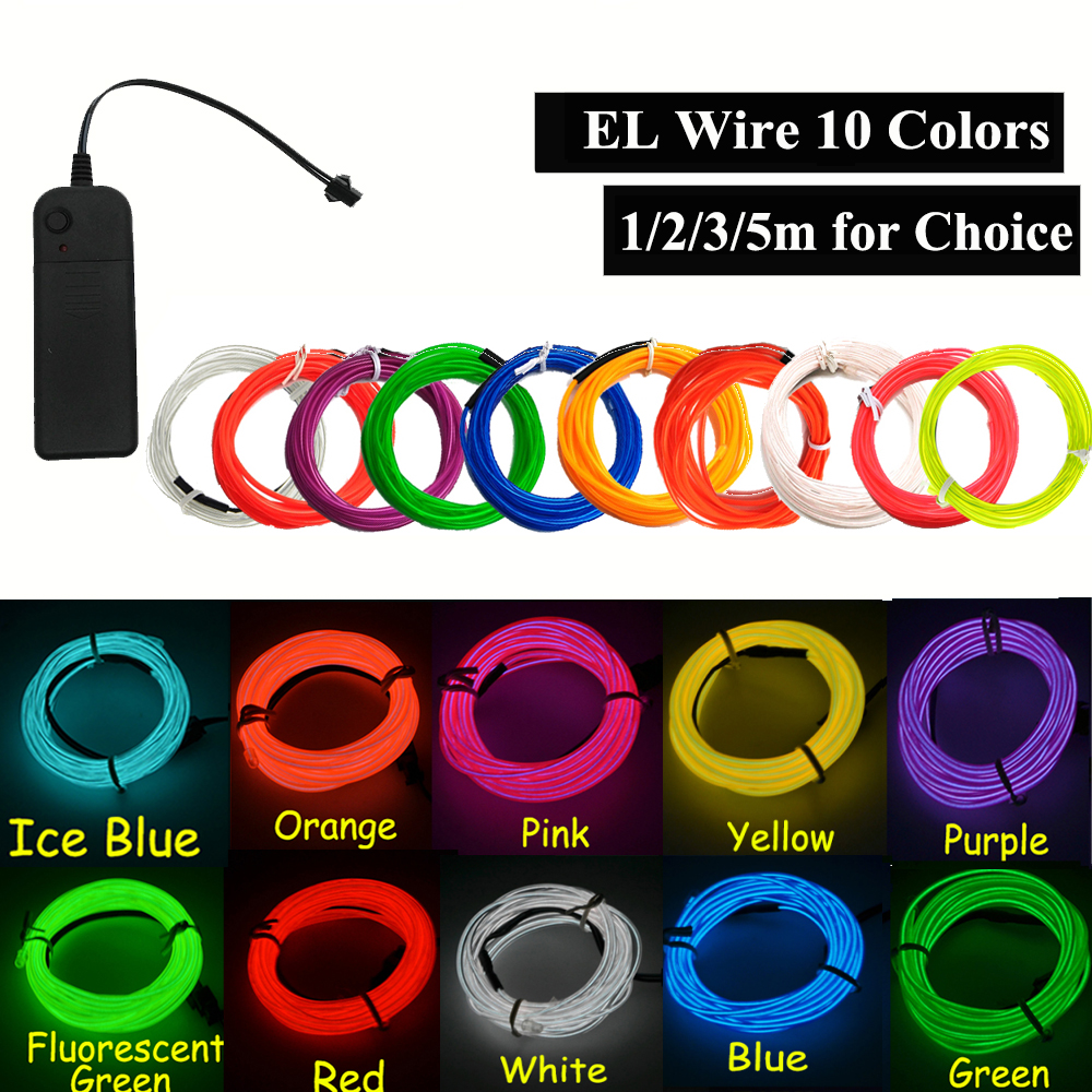 EL Neon Light Dance Party Decor Car Lights Neon LED Lamp Flexible 2.3MM  EL Wire Rope Tube Strip With Adapter For Party Decor