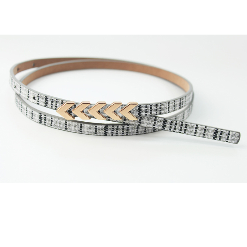 Simple arrow buckle fashion   belt   Women's simple matching thin   belt   Solid color High-end plaid Personality graffiti free shipping