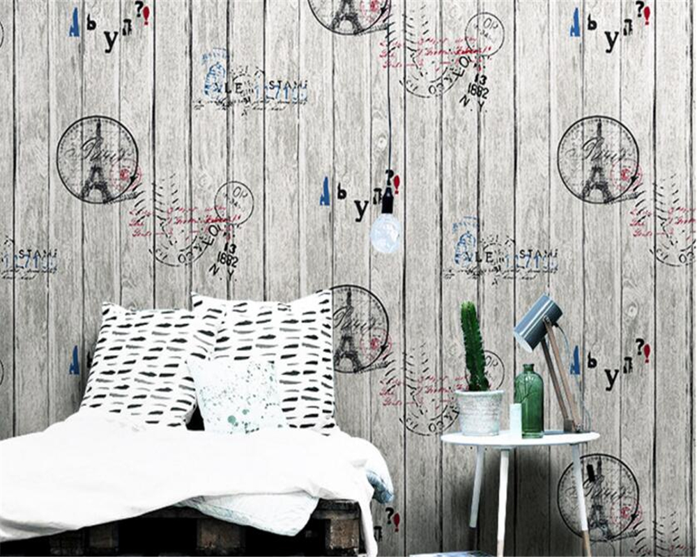 beibehang Chinese retro old English newspaper letter shop wallpaper Western restaurant fashion shop papel de parede 3d wallpaper in Wallpapers from Home Improvement