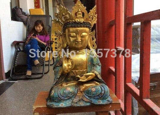 Shitou 00588 42 Cm Tall Tibet Nepal Buddhist Bronze Cloisonne Shakyamuni Buddha Statue