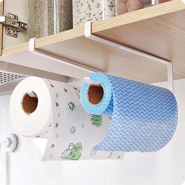 Kitchen Paper Holder Hanging Tissue Towel Rack Bathroom Toilet Roll Cabinet Storage