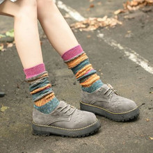 10PCS New products stacking socks Autumn and winter colorful cotton striped thigh highs ladies