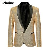 Men Sequine Jacket Blazer Slim Fit Golden Suit Jacket Shinning Club Outfit Party Outwear Streetwear Performance Dancer Clothing