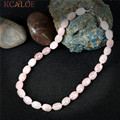 KCALOE Fashion Wedding Chokers Necklaces For Women Natural Pink Crystal Quartz Statement Necklace Handmade Strand Jewelry