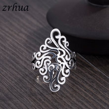 ZRHUA High Quality 925 Sterling Silver Wide Rings For Women Girl Wedding Engagement Leaf Big Finger Anel Wholesale Open Anillos(China)