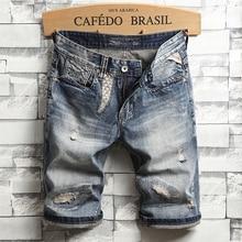 Italian Style Fashion Men Jeans Shorts Retro Blue Ripped Jeans Men Patchwork Denim Shorts Summer Streetwear Hip Hop Shorts Homme blue random ripped details denim shorts