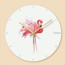 Wall clock Minimalist quartz watch Flamingo Glass Clocks Home Decoration Living Room Silent 12 inch