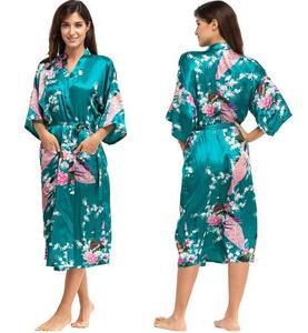 Image 4 - Robes de casamento de cetim rb015, camisola feminina kimono longa de raiom