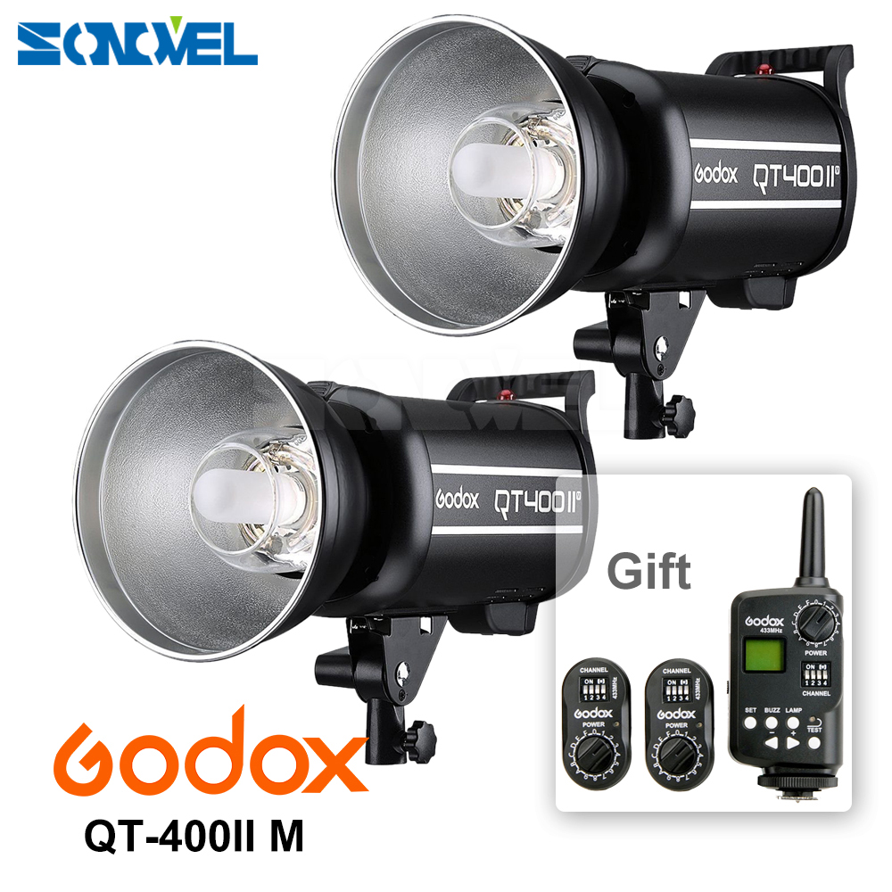 2x Godox QT400II M 400WS GN65 High Speed Sync 1/8000s Studio Flash Light Built-in 2.4G Godox Wireless X system For CANON NIKON godox qt400ii 400ws gn65 high speed sync flash light 1 8000s built in 2 4g godox wireless x system recycle time in 0 05 0 7s