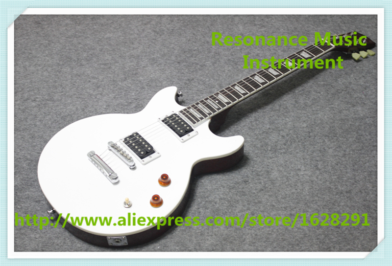 100% Real Pictures Glossy White LP Standard Electric Guitar Double Cutaway Mahogany Body For Sale