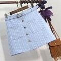 Nuevo En 2016 Verano de La Alta Cintura de Rayas Verticales Mujeres Faldas de Un Solo Pecho Falda de Una Línea Rosa, Azul, Gris