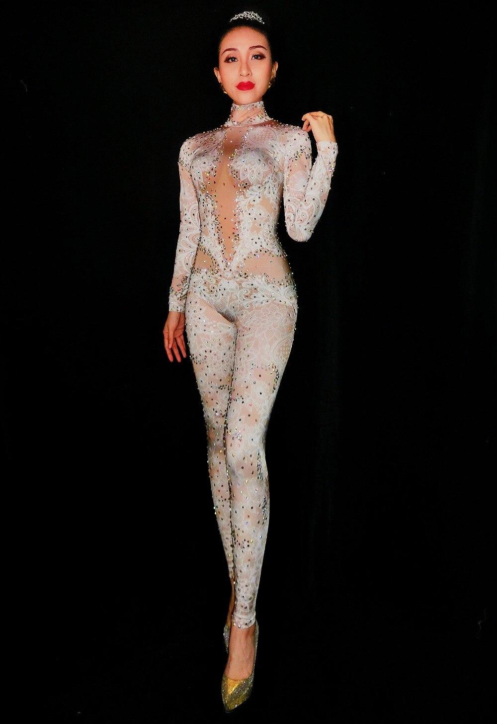 De Boîte Leggings Porter Blanc Scène Nuit Costume Spandex Strass Femmes Body Dentelle Plaine Salopette White Danse BqW7UfzqF