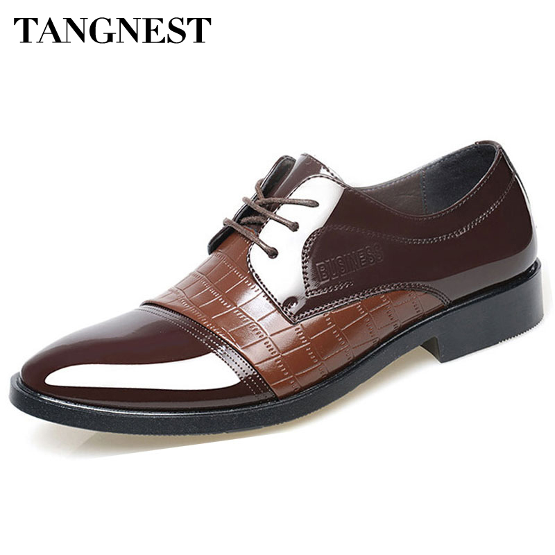 Tangnest Men Business Shoes Casual PU Leather Oxfords British Platform Pointed Toe Shoes Man For Summer Size 38-45 XMR1927