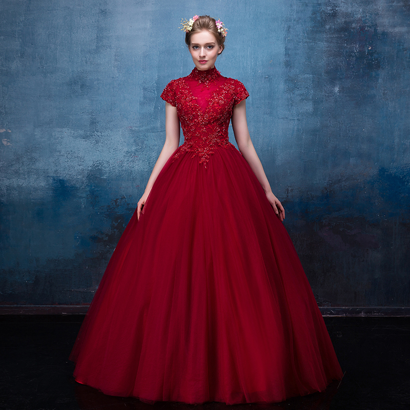 100%real wine red high collar beading ball gown Medieval Renaissance queen Dress Victoria dress /princess Belle Ball