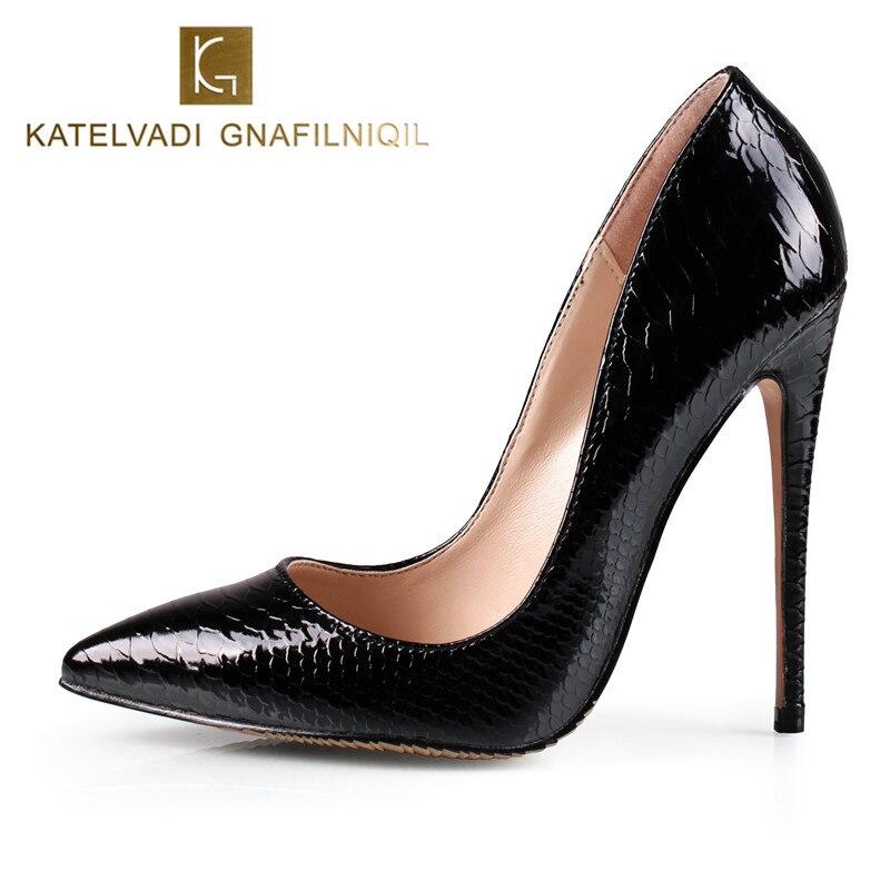 c0adc9d3b011 Черные женские туфли-лодочки змея Обувь женская обувь с острым ...