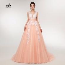 Suknia ślubna 2018 brzoskwinia koronkowe aplikacje zroszony dekolt zdjęcia prawdziwe Plus rozmiar linii Custom made długa suknia na bal maturalny gorąca sprzedaż