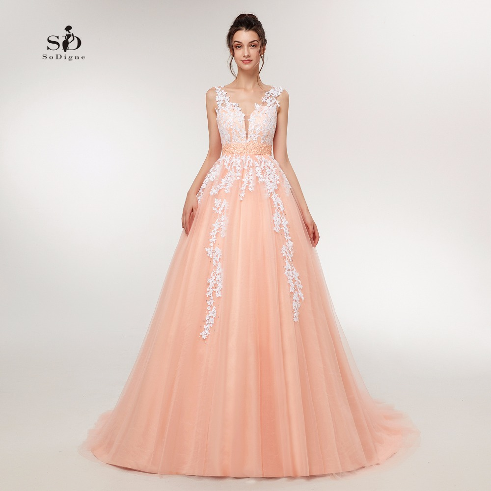 Wedding Dress 2018 Peach Lace Appliques Beaded V-neck Pictures Real Plus Size A-Line Custom Made Long Prom Party Dress Hot Sale