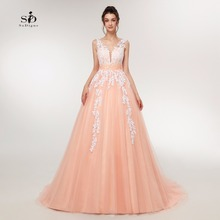 Wedding dresses 2017 Cheap High Quality Coral Elegant Tulle Dresses Lace Appliques Crystals and Beads A-line V-back