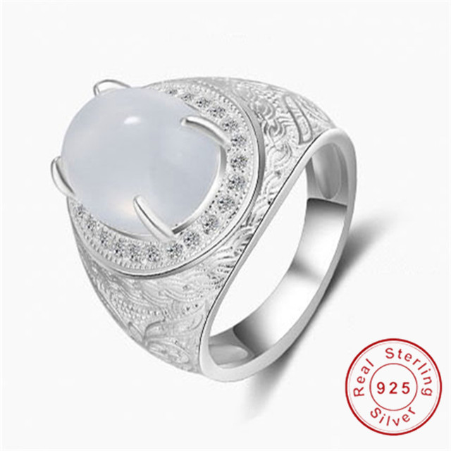 Original 925 Sterling Silver Rings Simple Fashion Style Opal Ring High Quality Wedding For Men