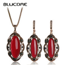 Blucome Vintage Rojo Grande Colgante de Collar de Sistemas de La Joyería Turco Princesa Ganchos Grandes Pendientes Largos de La Boda Accesorios Partido de Las Mujeres