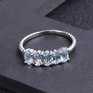 Image 2 - GEMS BALLETT Klassische 1,47 ct Oval Natürliche Sky Blue Topaz Stapelbar Finger Ring Für Frauen Hochzeit 925 Sterling Silber Feine schmuck