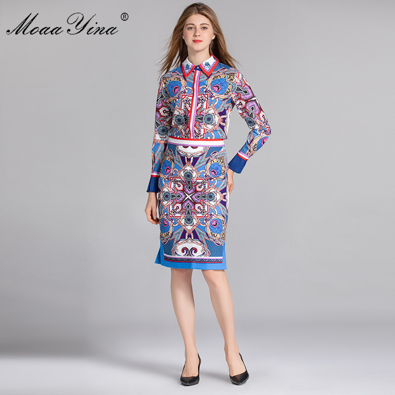 MoaaYina Fashion Designer Set Spring Women Long sleeve Turn down Collar Print Vintage Elegant Tops Half