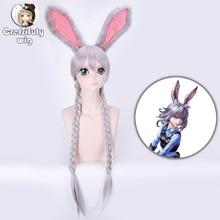все цены на 80cm 32inch Zootopia Rabbit Judy Cosplay Wig Synthetic Costume Long Silver Grey Braiding Hair Wigs For Women + Hair Hoop онлайн
