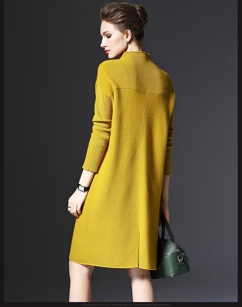 2019 Autumn and Winter Ladies New Simple Wild Long-sleeved Loose Bottoming Dress Was Thin Solid Color Knit Large Size Dress 1