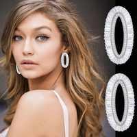 GODKI 39mm luxe ovale forme boucles d'oreilles pour les femmes de mariage cubique zircone CZ DUBAI mariée boucles d'oreilles boucle d'oreille femme 2018