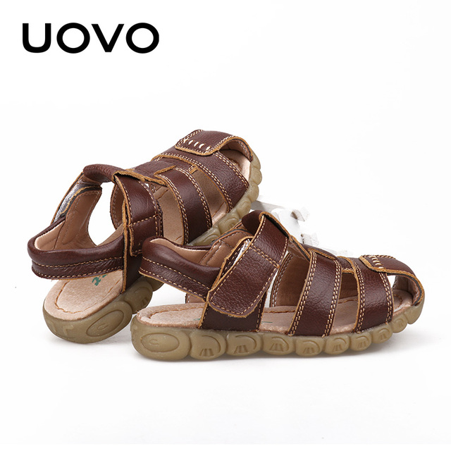 UOVO 2019 Summer Kids Shoes Brand Closed-Toe Toddler Boys Sandals Orthopedic Sport Leather Baby Sandals Boys Beach Shoes 21#-30# 5