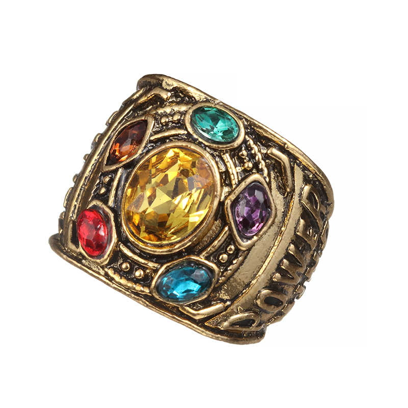 Hot Fashion Vintage Charm Avengers 3 Infinity War Thanos Jewelry Infinity Gauntlet Infinity stones Crystals Ring for Men