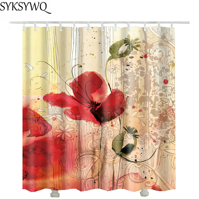 printed red flower polyester shower curtain rideau de douche 2018 ...