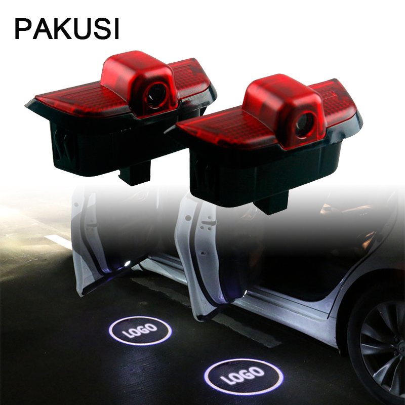PAKUSI 2X Car Door Welcome Light For Mercedes Benz W204 C Class C180 C200 C350 C63 Accessories Projector logo LED courtesy lamp
