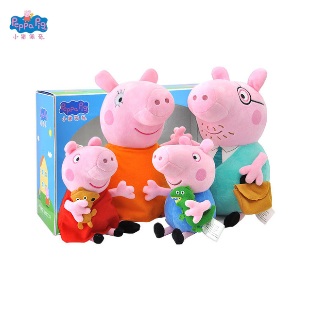 Genuine Pacote de Presente Peppa Pig Brinquedos 4 pçs/set Família do Porco Peppa Bichos de Pelúcia No Atacado & Brinquedos de Pelúcia de aniversário da boneca presente
