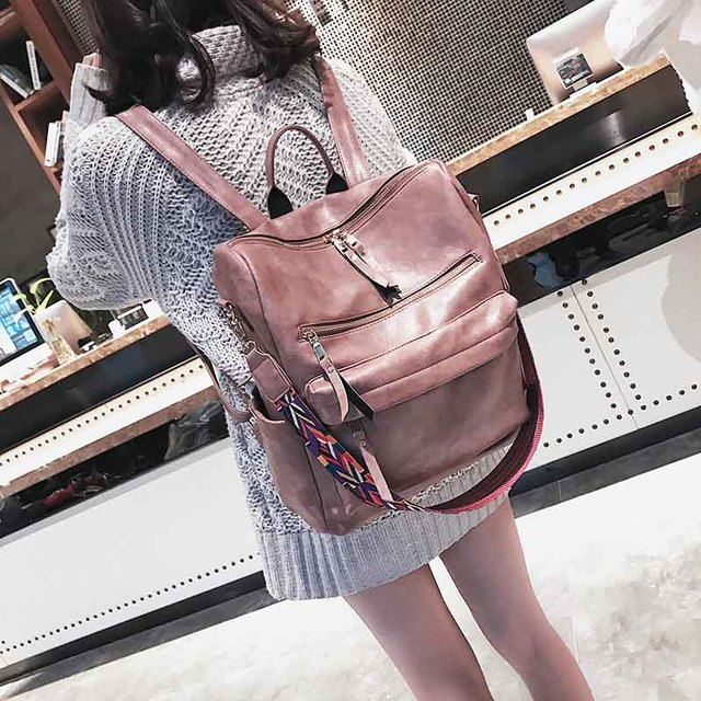 Leather Backpack Women 2019 Students School Bag Large Backpacks Multifunction Travel Bags Mochila Pink Vintage Back Pack XA529H 5
