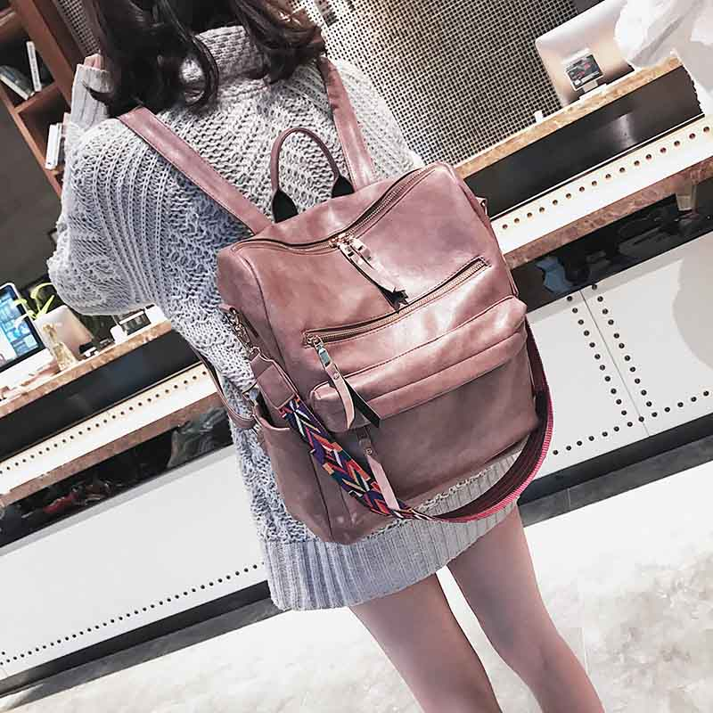Leather Backpack Women Students School Bag Large Backpacks Multifunction Travel Bags Mochila Pink Vintage Back Pack Xa529h #6