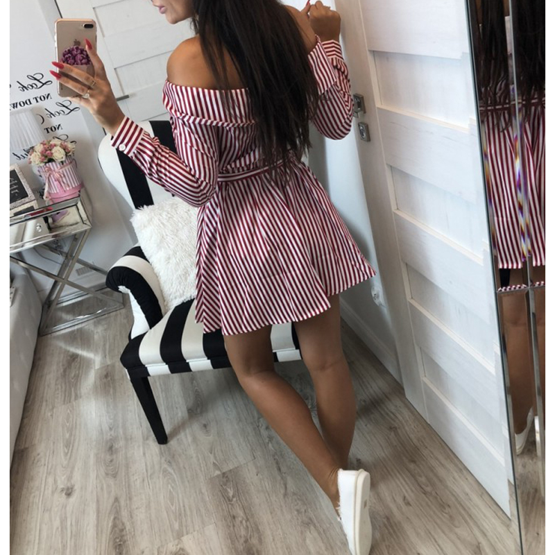 2018 Casual Women Shirts Dress Elegant Off Shoulder Striped Dresses Short Bow Ties Summer Dress Vestidos 4