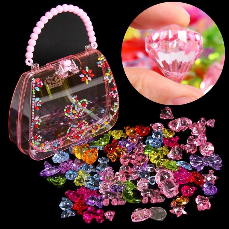 DIY Handmade Beaded Toy Gem Toy Play House Children Creative Girl Weaving Bracelet Jewelry Making Toys Educational Children Gift