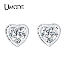 UMODE New Clear Round Zircon Hollow Heart Stud Earrings for Women 2018 White Gold Earring Water Drop Star Flower Jewelry AUE0455 цена