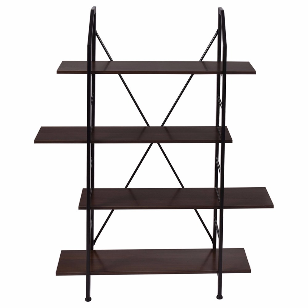 Goplus 4 Layers Wooden Bookshelf Storage Organizer Display Rack Home Office Furniture New Modern Organize Cabinet HW52821