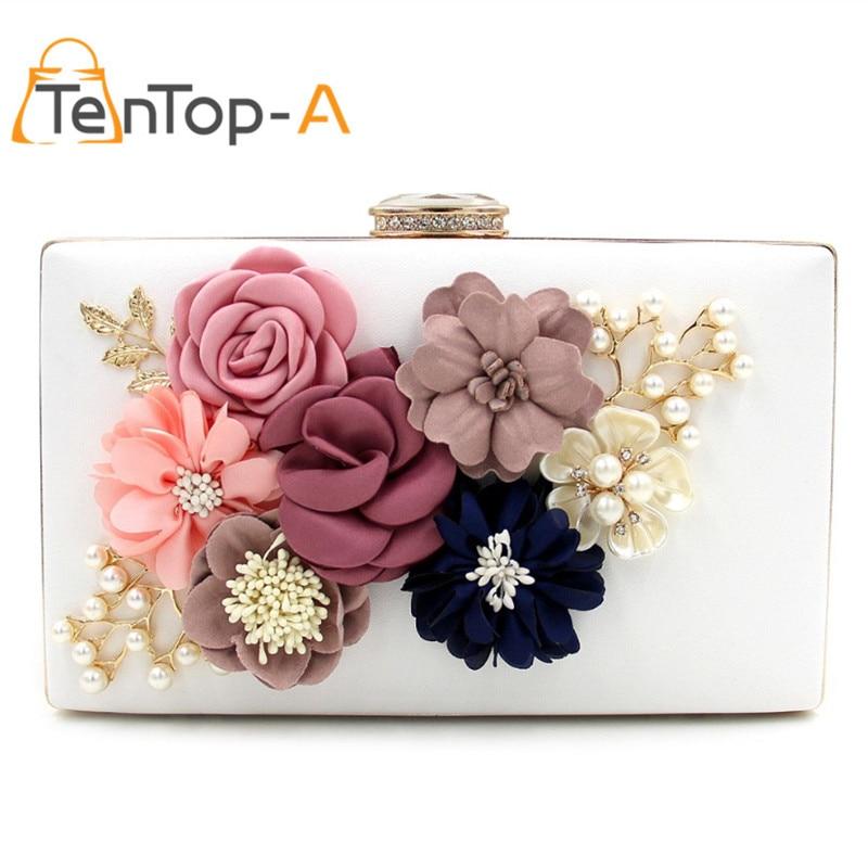 72a0bea686 TenTop-A 3 Color Famous designer PU evening bag Three-dimensional  Artificial Flowers UK