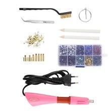 Aplicador Hotfix de diamantes de imitación con 7 puntas, Diamante de cristal aplicador de arreglo caliente, bolsa de almacenamiento con varita de Strass, enchufe europeo/estadounidense, 2000 Uds.