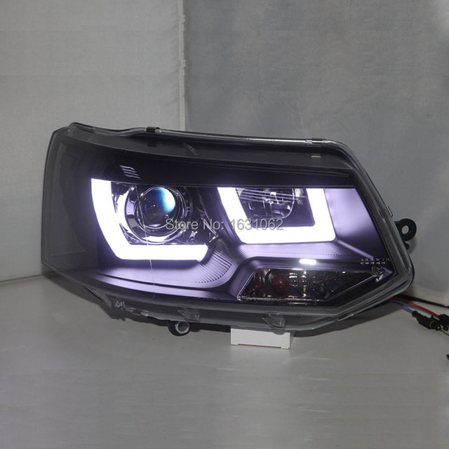 f r vw multivan t5 led angel eyes scheinwerfer 2009 2014. Black Bedroom Furniture Sets. Home Design Ideas
