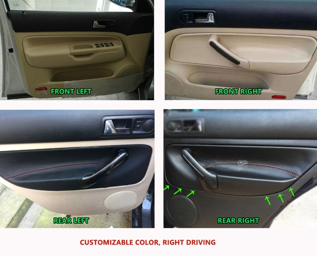 For VW Golf MK4 Bora Jetta 1998 1999 2000 2001 2002 2003 2004 2005 2006 Car Door Handle Panel Armrest Microfiber Leather Cover
