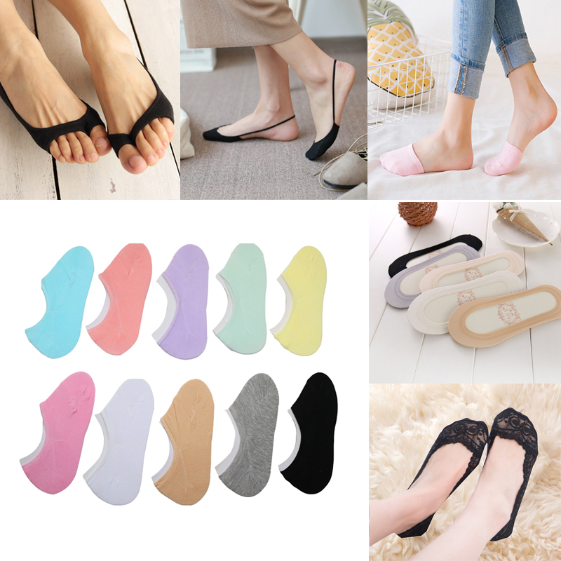 1/2/3/4Pairs Solid Color No Show Socks Summer Invisible Low Cut Boat Socks For Women Heels Shoe Liner Socks Slippers Chaussettes